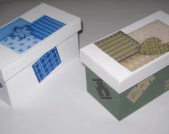 Caixa patchwork em verde ou azul