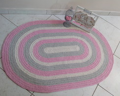 Tapete croch� baby oval rosa
