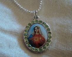Colar Prateado Sagrado Cora��o de Maria