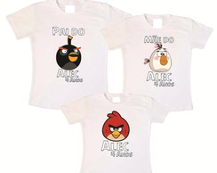 kit 3 camisetas aniversario Angry birds