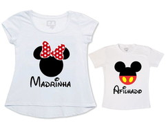 kit 2 camisetas madrinha afilhado mickey