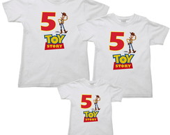 kit 3 camisetas aniversario toy story