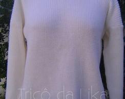 Blusa de manga comprida em l� branca