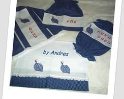 Kit de Cozinha Po� Azul Galinha D'Angola