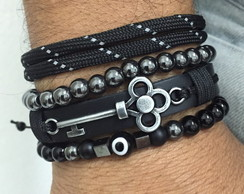 Kit 4 Pulseiras Couro Olho Grego Chave