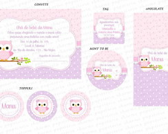 Kit Digital Corujinha Lil�s e Rosa