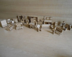 Kit mini moveis casa Polly compl MDF Cru