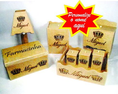 Kit higiene Beb� Nomes MDF cru - 8 pe�as