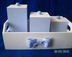Kit Higiene do Beb� Branco/Xadrez Azul