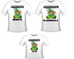 kit 3 camisetas aniversario minecraft