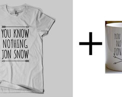 kit 1 camiseta + 1 caneca Jon Snow GOT