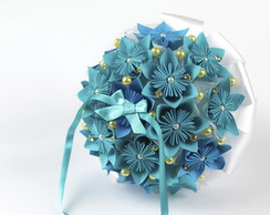 Porta alian�as-Mini Buqu� Flores Origami