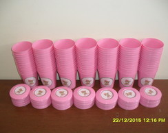 Copinhos 200ml Com tampa ursa rosa