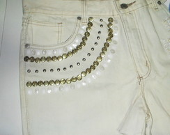 Short Jeans Customizado Bordado