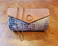 Bolsa Clutch Animal Print Cobre Ref 212
