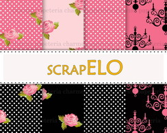 Kit Digital Floral - 19 Preto e Pink