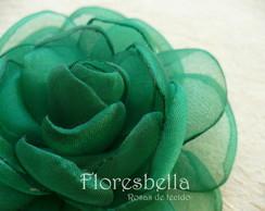 Broche com Rosa de Tecido Verde