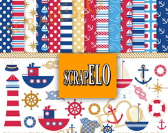 Kit Scrapbook Papel Digital Marinheiro 2