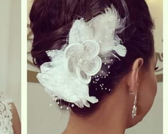 Fascinator Off-white Flor Perolada