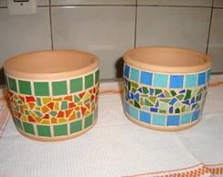 Cachep� de cer�mica com mosaico(Baixo)