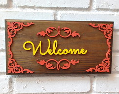 Placa R�stica Decora��o - Welcome