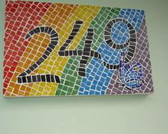 Placa de n�mero residencial em Mosaico