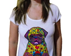 Camiseta Feminina Pug Dog Tribal Color