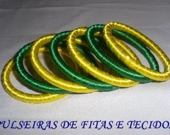 PULSEIRA CETIM verde e amarela