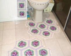 jogo de banheiro com rosas