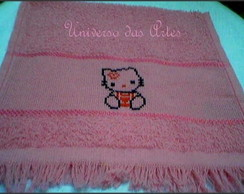 toalha de m�o bordada hello kitty