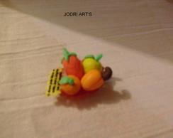 fruteira acr�lica com frutinhas biscuit