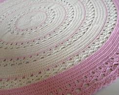 tapete redondo cru e rosa criativo e caprichado elo7. Black Bedroom Furniture Sets. Home Design Ideas