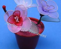 Vaso de flores de meia de seda!