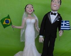 Topo de bolo casal bandeirinha