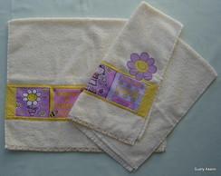 Toalha de rosto rosa e lil�s (unidade)