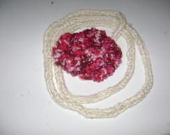 Cord�o rabo de gato com flor rosa mescla