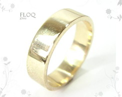 Alian�a Floq em ouro 18k modelo chapa*