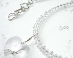 Colar Floq em prata + pingente cristal*