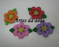 Apliques flores com folhas em EVA liso