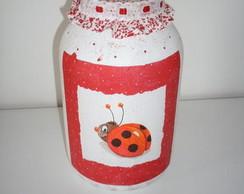 pote de vidro pintado com decoupagem(ven