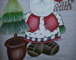 Pano de Prato com Papai Noel
