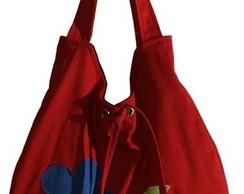 Bolsa em brim vermelho