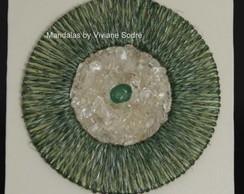 Mandala verde com cristal - 15x15