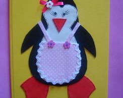 caderno em eva com pinguim femea