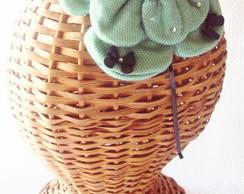 Tiara Flor Casquete Lacinho Verde Menta
