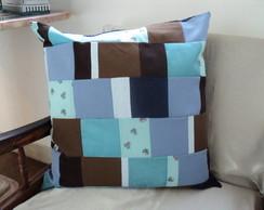 Almofada Patchwork Marrom e Azul