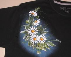 Camiseta c/ margaridas pintura em tecido