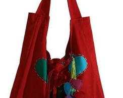 Bolsa cora��es em brim vermelho