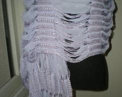 Xale de linha e tecido lavanda
