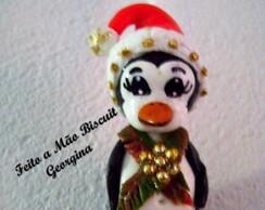 Chaveiro Natalino em biscuit Pinguim